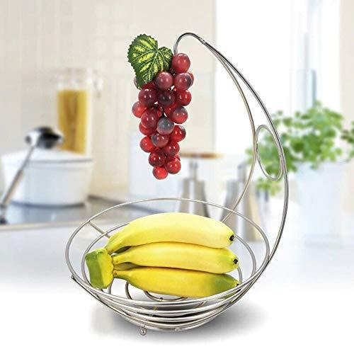2 Regal, Chrom-draht (St@llion Bananenaufhänger für Obst und Schüssel, Chrom, 2-in-1-Obstschale)