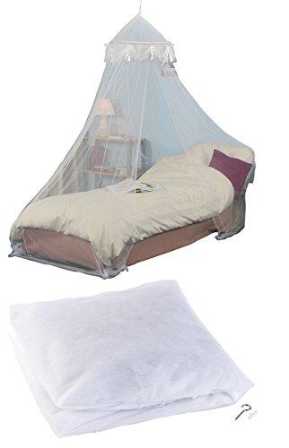 infactory Betthimmel: Moskitonetz für Einzelbetten, 225 Mesh, weiß, gute Luft-Zirkulation (Moskitonetz Reise) (Box Liege Bett)