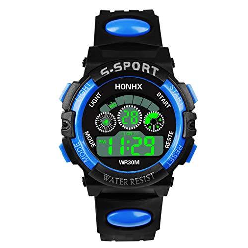 Dorical Wasserdichte Sportuhr für Herren, Digitale Quarz Armbanduhr, Outdoor Uhr Laufen Chronographuhr militärische Uhren, Cool Sport große Anzeige LED mit Timer und Wecker für Männer(E)