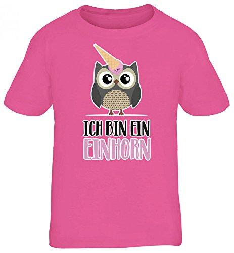 Süße Geschenkidee Unicorn Eis Ice Cream Kinder T-Shirt Rundhals Mädchen Jungen Eule - Ich Bin Ein Einhorn, Größe: 134/146,Pink (Eis Kinder T-shirt)