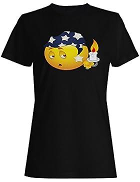 Novedad divertida de la cara del sueño del smiley camiseta de las mujeres a542f