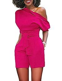 Lover-Beauty Mujer Mono Elegante Cortos Verano Un Hombro Casual Pantalones Ropa Vestir Cintura Alta