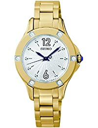 Seiko Damen-Armbanduhr XS Analog Quarz Edelstahl beschichtet SRZ424P1