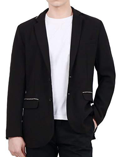 Allegra K Herren Brust Tasche Kette Verziert Kragen & Klappe Knopf Oben Blazer S (EU 46) (Kerbe-kragen Blazer)