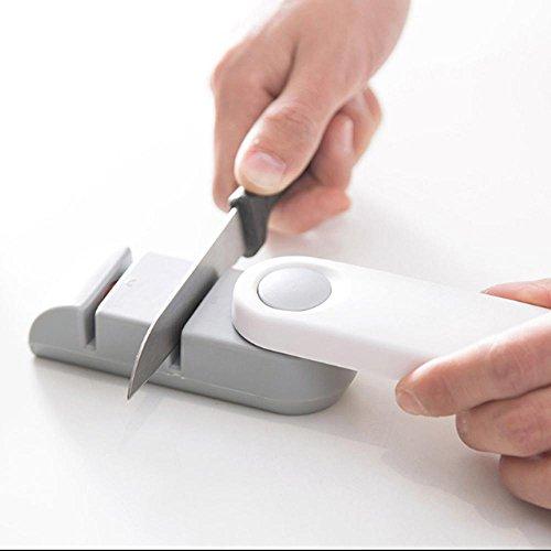 NOBLE Küche Messerschärfer 2-stufig Hilft Reparatur und Polieren Klinge Anti-Slip Griff (Linkshänder Küchen-werkzeuge)