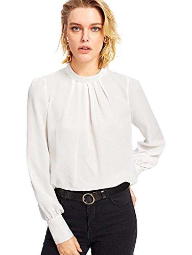 ROMWE Damen Elegant Chiffonbluse Stehkragen Langarm Tunika Bluse Weiß L 6ace0338c7