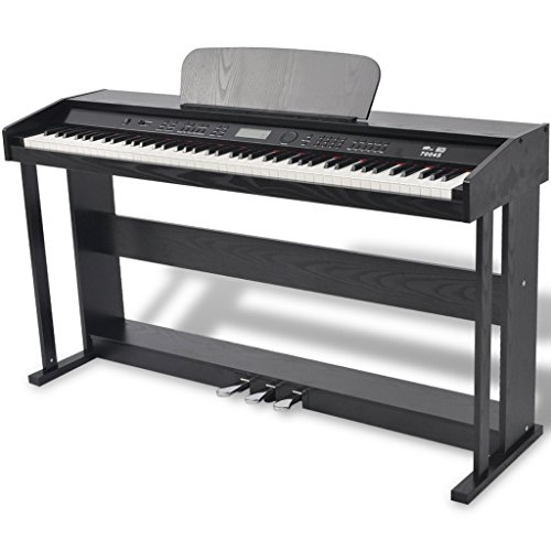 Festnight 88-Taste Digitales Klavier Piano mit 3 Pedalen LCD-Display 134 x 40 x 75 cm Ideal Geschenk Schwarz