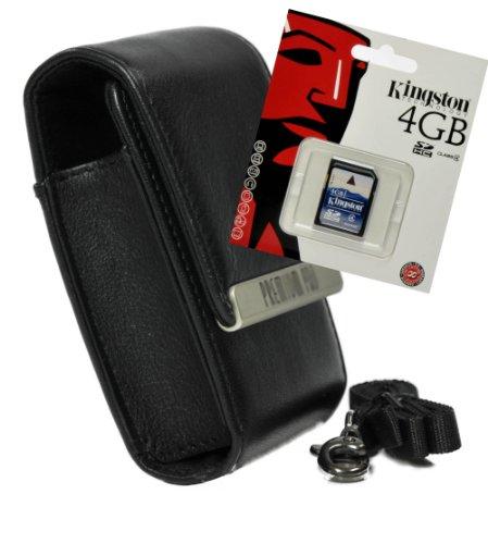 (Foto Kamera Tasche PREMIUM PRO Leder Set mit 4GB SD Karte für Nikon S2800 S02)
