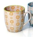 Tasse Holly Keramik oranges Muster Höhe 9 cm Becher Kaffeetasse Teetasse