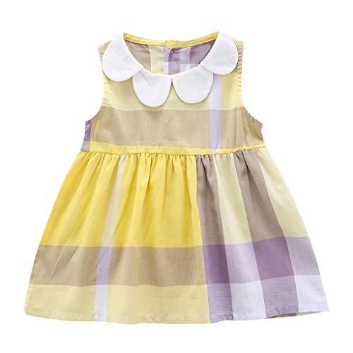 (JUTOO Neugeborenes Kleinkind-Kind-Baby-Mädchen-Sleeveless Plaid gedruckte Partei-Prinzessin Dress Clothes (Gelb,90))