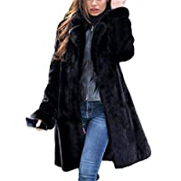 Coat Winter Pluche Verdikte Vrouwen, Mid-Length Warm Faux Fur winddicht Luxe nauwsluitende Coat elegante mode lang haar Black Women's,XXXL