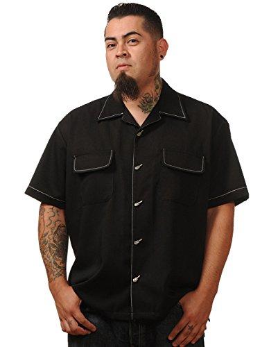 Steady Clothing Herren Vintage Bowling Hemd - Musician Retro Bowling Shirt Schwarz XXL (Herren-vintage-bowling-shirt)