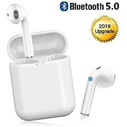 Écouteur Bluetooth sans Fil Bluetooth 5.0 TWS-i11 Oreillette HD Microphone Stéréo Sports in-Ear Casque Réduction De Bruit Étanche avec Mini Chargeur pour Huawei Samsung iPhone iPad (Blanc) (Blanc)