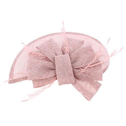 Baoblaze Damen Eleganter Fascinator Haarschmuck Haarreif mit Federn Schleif Kopfbedeckung Braut Hochzeit - Rosa