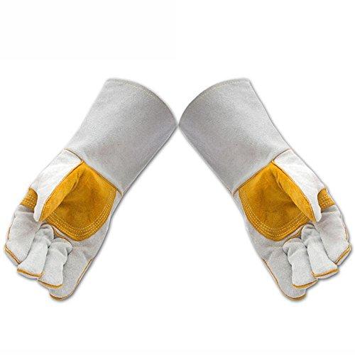 HomJo Oven Gloves Extreme Hitzebeständige Barbecue Handschuhe 580 ° F Kochen Ofen Handschuhe Rindsleder Interne Baumwolle Komfort Schweißen Brandschutz Handschuhe Outdoor Küche , 2