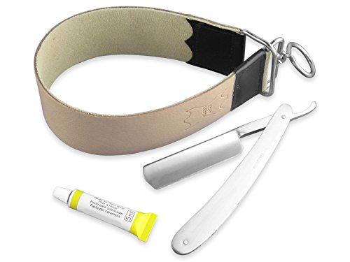 Edelstahl Rasiermesser Set + Rindleder-Streichriemen+ Schleif-Paste aus Solingen 3-Teilig NEU