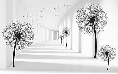 Wdbzd 3D Tapeten 3D Wallpaper Space Extension 3D Löwenzahn Hintergrund Wand Wohnzimmer Schlafzimmer Tv Hintergrund Wandbild-300Cmx200Cm