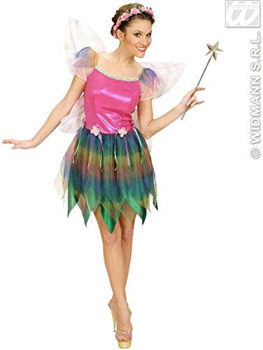 Damen-Kostüm Fee, Kurzes Buntes Kleid mit Feen-Flügeln, Regenbogen-Elfe, ()