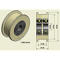 Pack de 4 x Nylon Cinturón Idler 45 mm diámetro 13 mm Groove 10 mm Rodamiento Precisamente mecanizado en la UE (45-13-10)