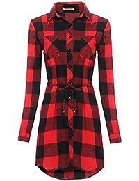 HOTOUCH Damen Kariertes Kleid Langarmshirt Hemdkleid Shirtkleid Blusenkleid  Karo… 7b1c491640