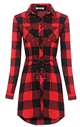 Hotouch Camicia Casual A Quadri Manica Lunga Blusa