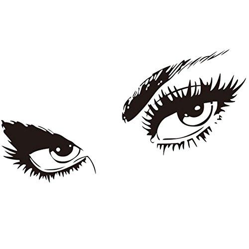 Lumanuby 1 Paar Augen Wandaufkleber mit Wimpern PVC Abnehmbarer Eyes Wandbild für Wohnzimmer oder Schlafzimmer Schwarz Farbe, Wandtattoo Serie