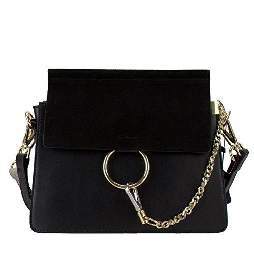 Yy.f New Leather Handbags Donna Anello Borsa Messenger Bag Piccolo Pacchetto Quadrato Opaco Multicolor Marrone