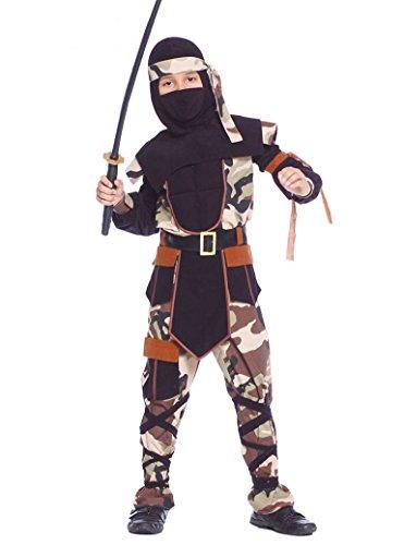 Kostüm Camouflage Ninja Sazuke Tarnanzug Camouflage Kinderfasching Krieger (5- 6 Jahre (Gr. 110/116))