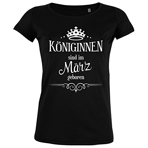 FABTEE Königinnen Sind IM März Geboren - Damen Organic T-Shirt - Verschiedene Farben - Größen S-2XL, Größe:M;Farbe:Schwarz (Geburtstag Organische Baumwolle T-shirts)