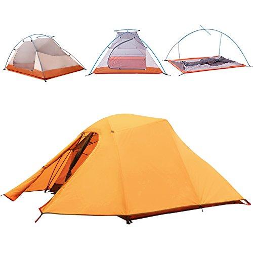 Topnaca Mehrpersonen-Zelt, doppellagiges Rucksackzelt, Aluminium-Gestänge, UV-geschützt, windfest, wasserdicht, leichtgewichtig, ideal für Camping- und Wanderausflüge, auf Reisen, auf der Jagd, erhältlich als 2- und 3-Personen-Zelt., Herren, Orange-3 Person Tent, 225x210x110cm (2p 3-jahreszeiten-backpacking-zelt)