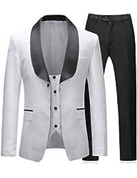 Sliktaa Costume Homme Blanc 3 Pièces Slim Fit Élégant Formel Mariage  Business Bal Tuxedo Veste Gilet cc4d983598f