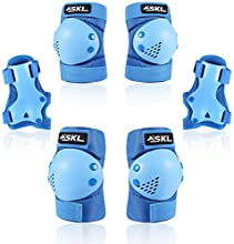 SKL Kids/Child Knee Pads Set, Knee Pad Elbow Pads Guards Protective Gear Set for Skateboard, Cycling, BMX Bike, Roller Skates, Inline Skatings, Scooter Riding Sports