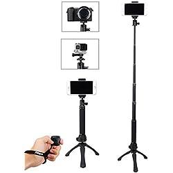Fotopro Bastoni Selfie e Mini Treppiede 2-in-1, iPhone Treppiede e Mini Treppiede Set Selfie Stick, Adattatore Mobile Phone, Bluetooth Remote Shutter per Gopro, iPhone,Samsung ed Altri Telefoni