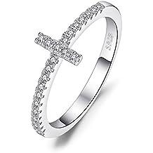 3c77bb423a2e JewelryPalace 925 plata Anillo Cruz con Zirconia cúbico de boda