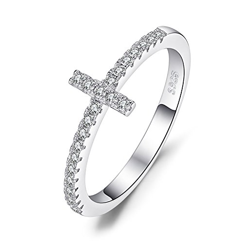 JewelryPalace 925 Sterling Argento Cubic Zirconia Croce Laterale Anello 14.5