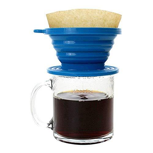 JSS Silikon klappbar kaffee Filter Membran, Lebensmittelqualität Kaffee Tropfer, perfekt für draußen und unterwegs mit gratis Haken Einheitsgröße BlueA