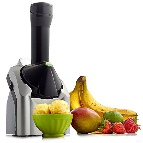 Yonanas Frozen Healthy Dessert Maker - 100% Fruit Soft-Serve Maker (Black and Silver)
