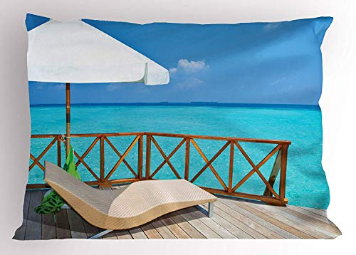 Ejjheadband Coastal Pillow Sham, Parasol and Chaise Lounges and Deckchair on Terrace of Water Villa Maldives, Decorative Standard Queen Size Printed Pillowcase, 30 X 20 inches, Aqua White Tan -