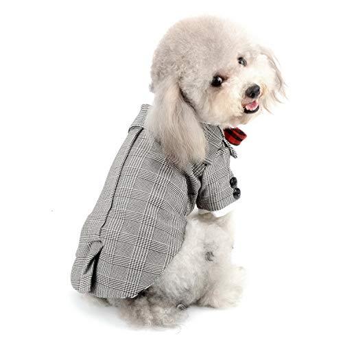 für Kleine Hunde, Karomuster, Mantel für Hunde und Katzen, Karo-Anzug, Formelle sanfte Westernkleidung, für Jungen mit Krawatte ()