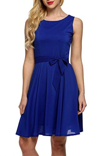 Zeagoo Damen Chiffon Kleid Dunkelblau XL -