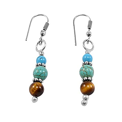 Silvestoo India Tiger Eye & Turquoise Earring PG-130728