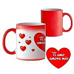 """Idea Regalo - TassenWerk - Tazza Magica con Stampa Romantica – Tazza Cambia Colore con Calore - Tazza da Tè Decorata con Cuori e """"Ti amo amore mio"""" - Regalo per San Valentino"""