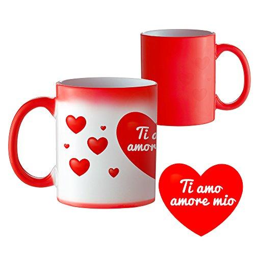 """Tassenwerk - tazza magica con stampa romantica – tazza cambia colore con calore - tazza da tè decorata con cuori e """"ti amo amore mio"""" - regalo per san valentino"""