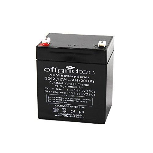 Offgridtec AGM Solar Batterie für zyklische Anwendungen 4,2 Ah C 10, 2-01-001475
