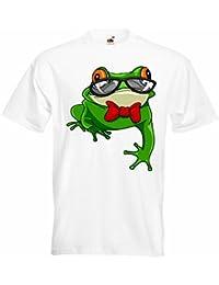 """T-Shirt """"LUSTIGER FROSCH MIT FLIEGE UND BRILLE LIFESTYLE FASHION STREET WEAR HIPHOP LEGENDARY SALSA"""" in Weiß"""