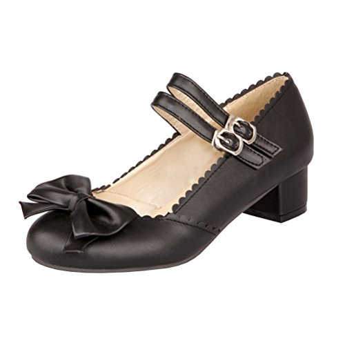 Agodor Damen Blockabsatz Riemchen Mary Jane Halbschuhe mit Schnalle und Schleife Rockabilly Schuhe Strap Mary Jane Pump