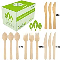 205 Pcs Disposable Wooden Cutlery Set   100 Forks, 50 Knives, 50 Spoons,5 Bamboo Knives   100% Natural Birchwood Biodegradable   Ideal for Party, Picnics, BBQ, Camping