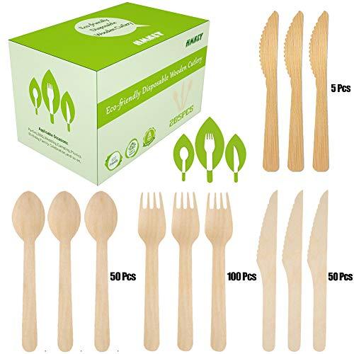 205 Stücke Hölzern Einwegbesteck Set - 100 Gabeln, 50 Löffel, 50 Messer,5 Bambus Messer - Biologisch Abbaubares und Kompostierbar für Camping,Picknick,Gartenparty - Alternative zu Kunststoff