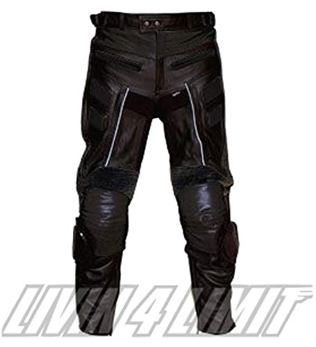 4LIMIT Sports 400102001102 Pantalones Moto de Cuero, Negro, XS