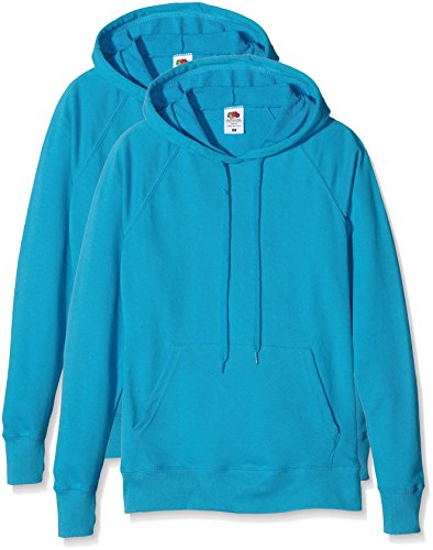 Fruit of the Loom Damen Ladies Lightweight Hooded Sweat Sweatshirt, Blau (Azure Blue), XS (Lightweight Hooded Pullover)